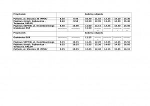Rozkład jazdy od poniedziałku do piątku - jazda testowa2