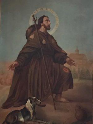obraz św. Rocha w ołtarzu głównym w Sadykrzu
